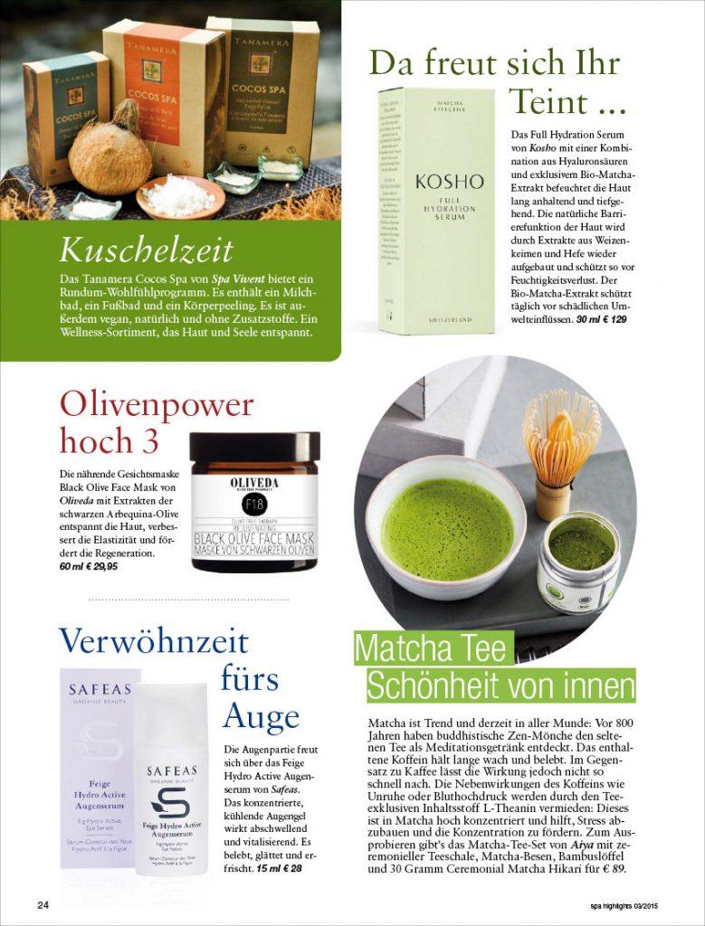 Kosho Cosmetics in den spa highlights