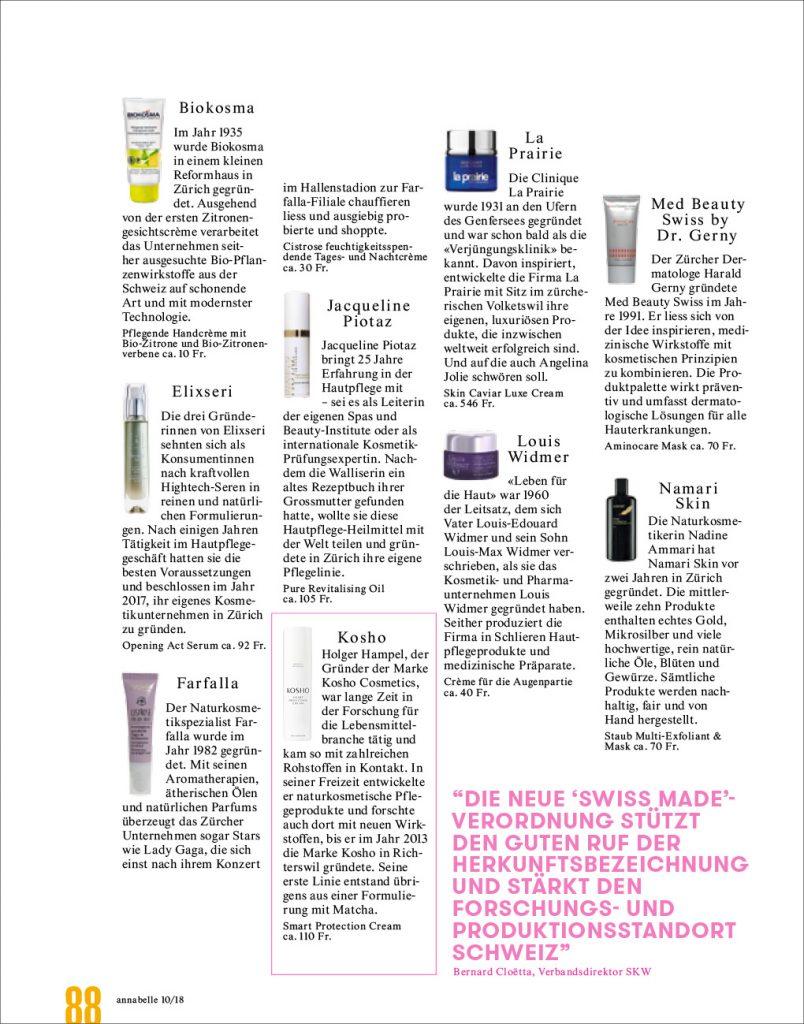 Kosho Cosmetics in der annabelle