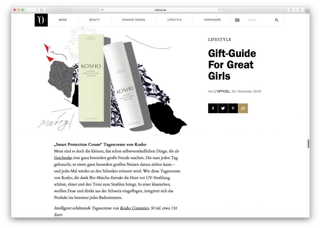 Kosho Cosmetics bei L'Officiel Online