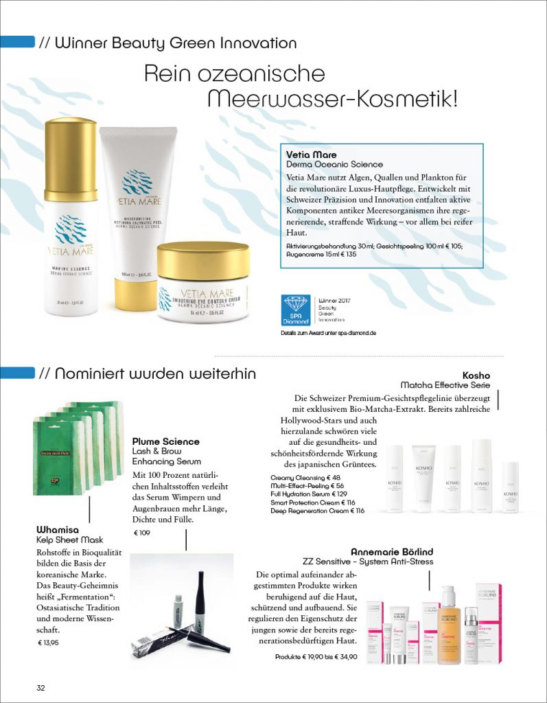 Kosho Cosmetics im SPA Diamond Magazin