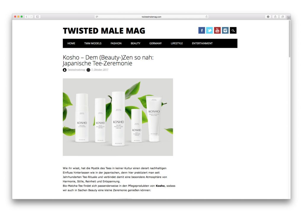 Kosho Cosmetics im Twisted Male Mag