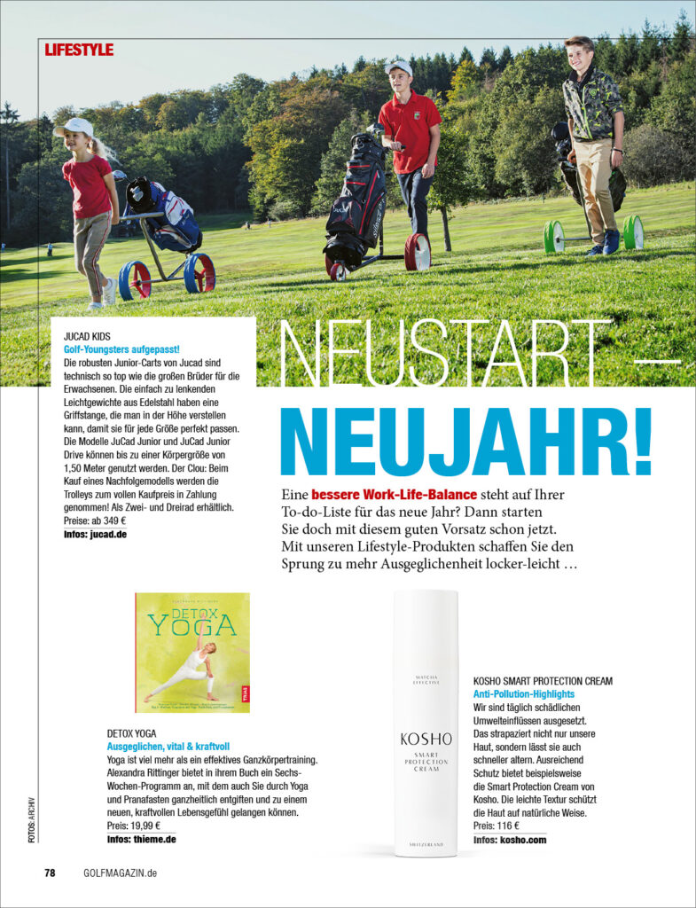 Kosho Cosmetics im GOLF Magazin: Smart Protection Cream