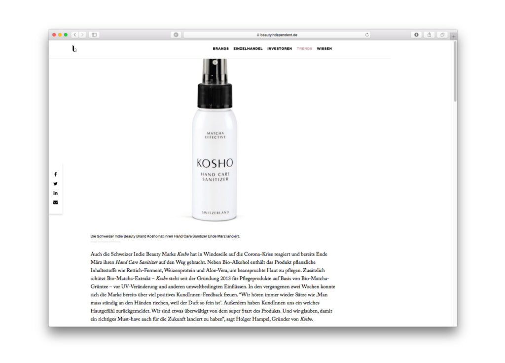 Kosho Cosmetics bei Beauty Independent Deutschland: Hand Care Sanitizer