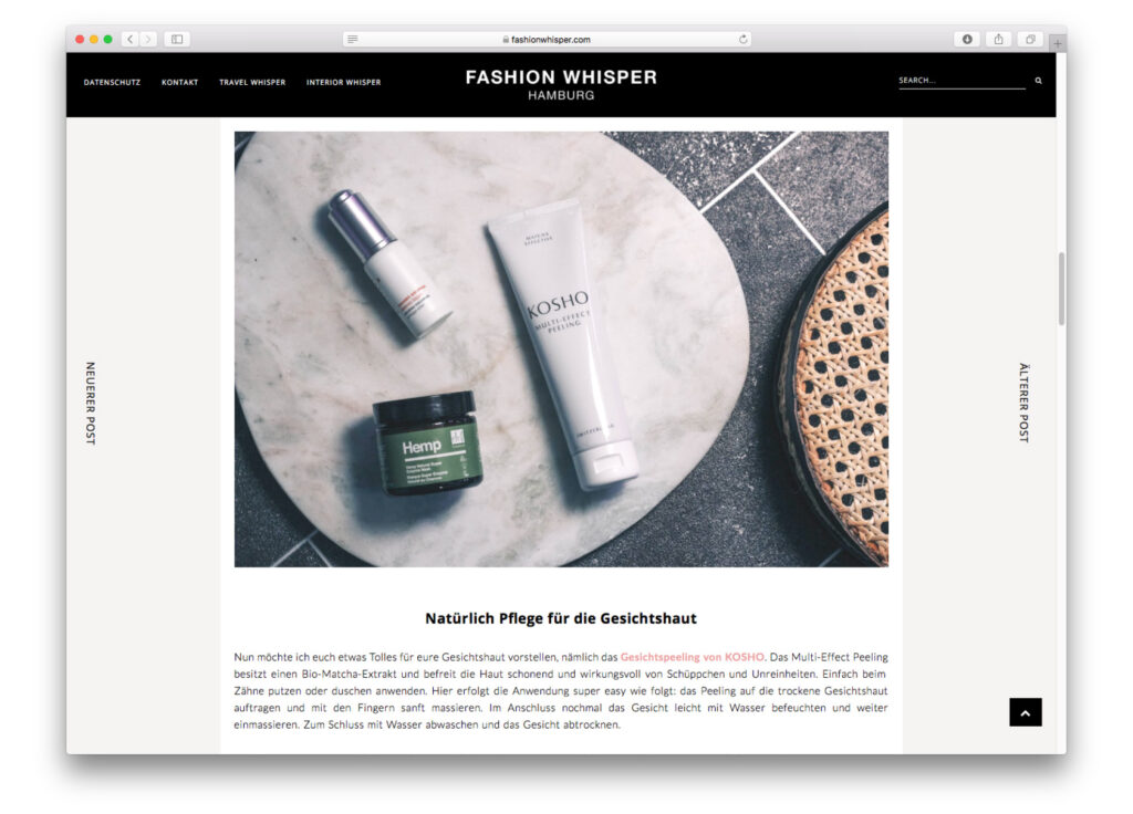 Kosho Cosmetics bei Fashion Whisper: Multi-Effect Peeling