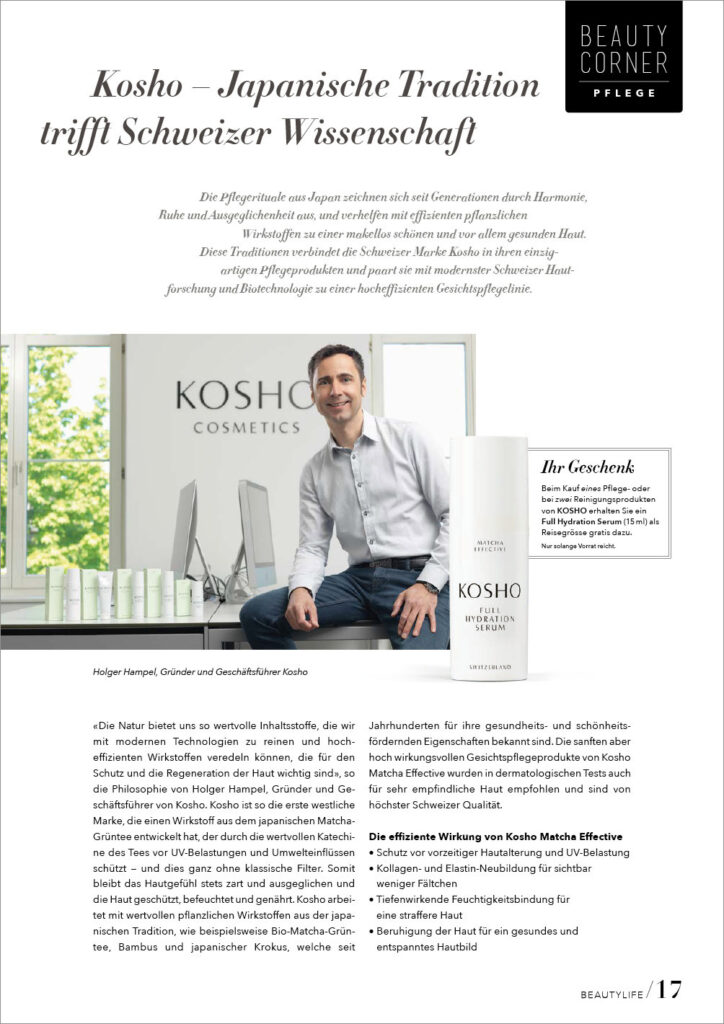 Kosho Cosmetics im BeautyLife Magazin