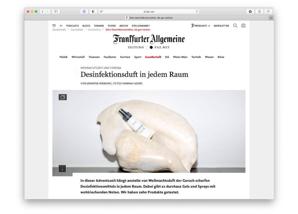Kosho Cosmetics bei Frankfurter Allgemeine: Hand Care Sanitizer